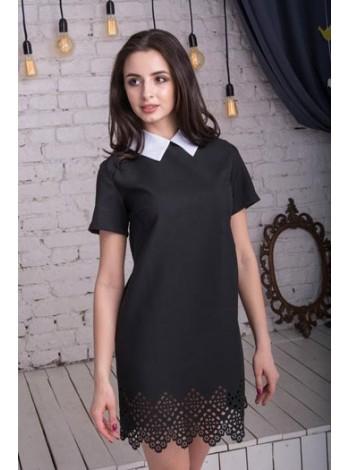"""Короткое черное платье с белым воротником """"Леди"""""""