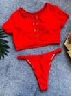 Красный спортивный купальник топик + высокие бразилиана