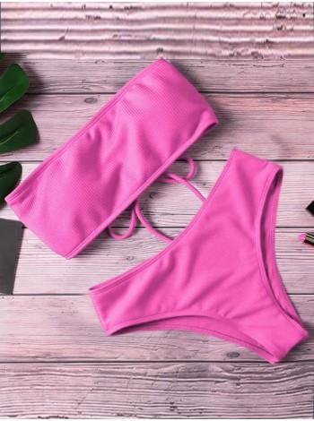 Розовый купальник бандо на шнуровке в рубчик