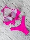 Розовый неоновый купальник бандо с танго