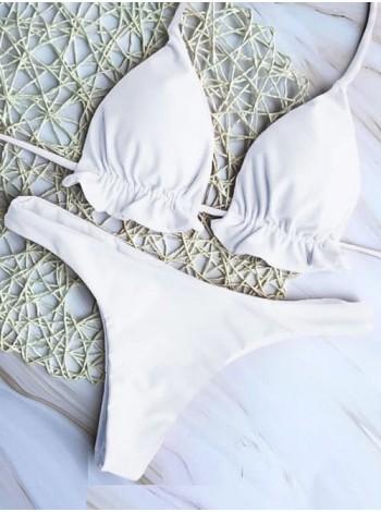 Белый купальник-шторки со стрингами