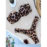 Купальник бондо с леопардовым принтом Анжелика