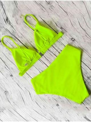 Зеленый яркий неоновый женский купальник