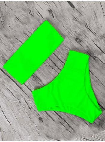 Зеленый яркий неоновый купальник бандо с бразилиана