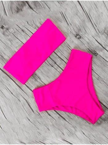 Неоновый розовый купальник бандо + завышенными бразилиана