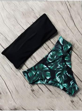Черный купальник бандо с чашками + плавки с листьями