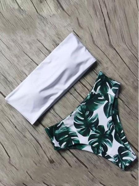 Белый купальник бандо + плавки с листьями