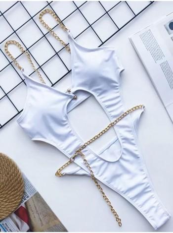 Белый совместный женский купальник с цепочками