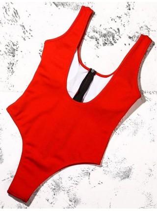 Красный сдельный купальник с черной змейкой XS, S, M