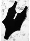 Черный совместный купальник со змейкой в рубчик XS, S, M