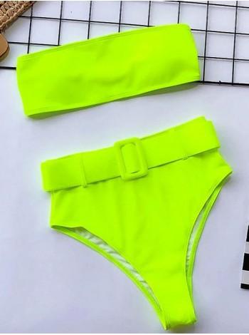 Зеленый неоновый купальник бандо с высокими плавками