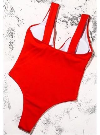 Красный сдельный купальник с декольте XS, S, M