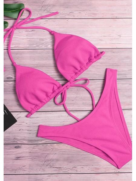 Розовый купальник в рубчик плавки бразильяна