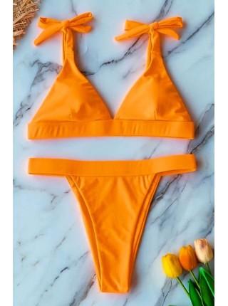Оранжевый неон купальник с высокими бразилаина