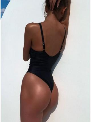 Сдельный женский черный купальник-боди в рубчик
