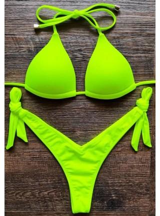 Неоновый зеленый купальник с плавками танго
