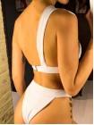 Неоновый желтый купальник-треугольник замочки