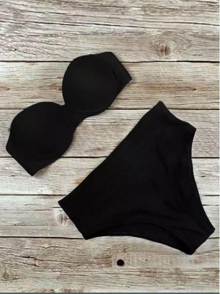 Черный купальник с высокими плавками Анжелика