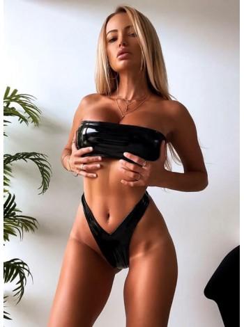 Черный купальник бандо на змейке + высокие бикини