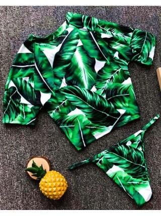 Универсальный купальник топик + бикини с листьями