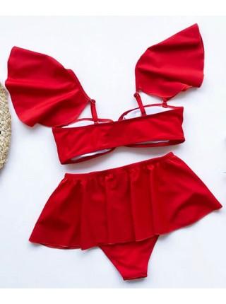 Красный купальник тройка бандо + плавки + юбка