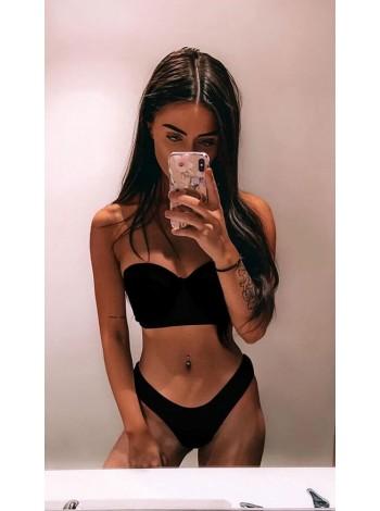 Черный купальник бандо Анжелика + бразилиана