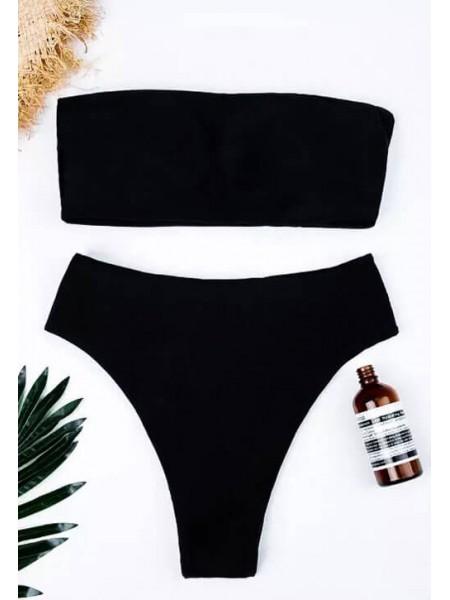 Черный купальник бандо + завышенные бразилиана
