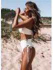 Белый купальник бандо + бразилиана со шнуровкой