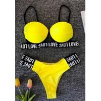 Неоновый желтый купальник с плавками бразилиана