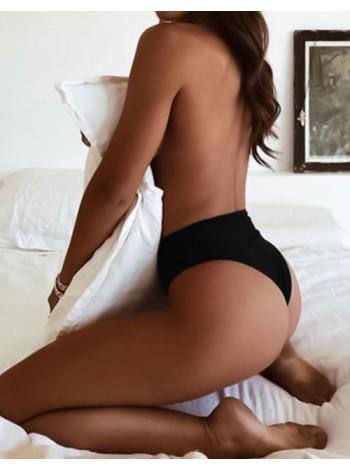 Женский низ от купальника с завышенной талией бразильяна черный S, M