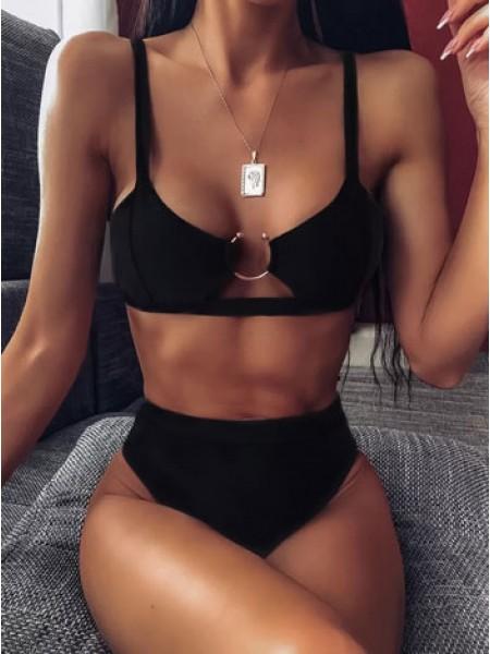 Черный стильный купальник с высокими бразилиана