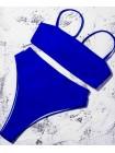 Яркий синий купальник бандо + бразилиана на резинке