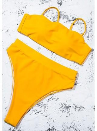 Яркий желтый купальник бандо + высокие бразилиана
