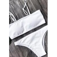 Женский раздельный купальник бандо с трусиками бразилиана белый S, M