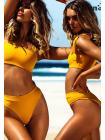 Желтый яркий купальник бандо + высокие бразильяна на резинке