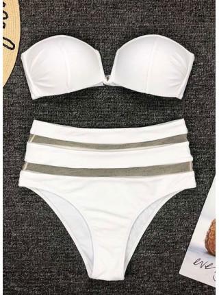 Белый купальник бандо с декольте + высокие плавки
