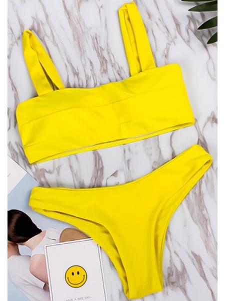Яркий желтый раздельный купальник бандо с чашками + трусики бразилиана