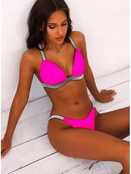 Яркий неоновый купальник с бразилиана розовый