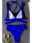 Яркий синий купальник топ из сетки + трусики бразилиана с высокой посадкой