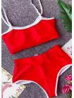 Яркий спортивный фитнес-купальник шорты бразилиана + топ красный