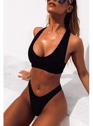 Спортивный черный купальник высокие бикини + топ с чашками