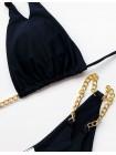 Черный купальник-шторки с цепочками