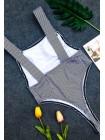 Слитный полосатый купальник с лямками высокие стринги