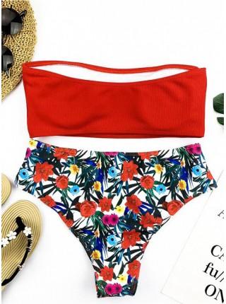 Красный купальник бандо + бразилиана цветочным принтом
