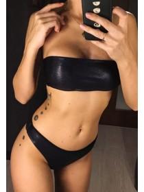 Женский черный купальник бандо с завышенными трусиками