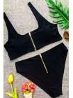 Модный купальник с высокой посадкой + топ змейки (черный)