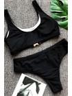 Женский черный купальник топик + бразилиана с замочками