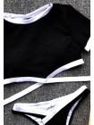 Черно-белый спортивный купальник топик с трусиками бразилиана