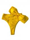Модный купальник в рубчик бандо с высокими плавками бразильяна