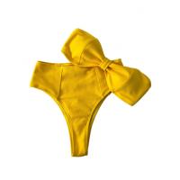 Яркий желтый купальник в рубчик с высокими бразилиана